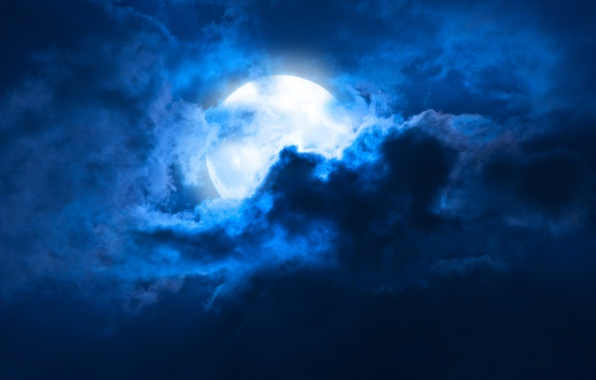 Picture the sky, clouds, landscape, night, The moon, moon, moonlight, sky, landscape, night, clouds, moonlight, midnight, …