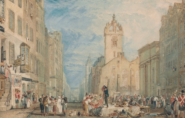 Picture people, home, picture, area, watercolor, Edinburgh, the urban landscape, High Street, William Turner