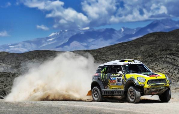 Picture Auto, Mini, Mountains, Yellow, Dust, Sport, Machine, Mini Cooper, Rally, Dakar, Mini, Side view, 304