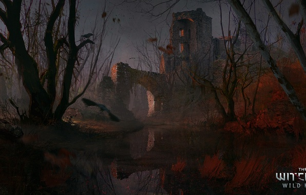 Picture castle, swamp, art, ruins, The Witcher, The Witcher 3: Wild Hunt, CD Projekt Red