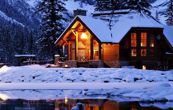 Picture winter, forest, snow, lake, house, nature, winter, snow