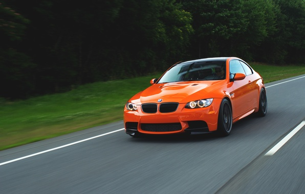 Picture road, trees, orange, speed, BMW, BMW, road, speed, orange, e92