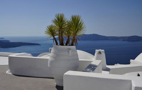 Picture sea, view, Greece, Notio Aigaio, Firostefani, Thira