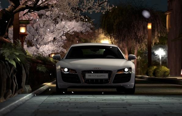 Picture road, car, machine, city, lights, Wallpaper, street, lights, lights, white, wallpaper, white, Audi R8, car, …