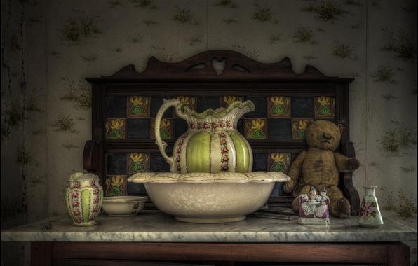 Picture style, toy, bear, figurine, pitcher, Taz, Teddy bear