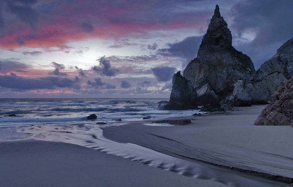 Picture sand, sea, the sky, clouds, sunset, clouds, rocks, shore, the evening, surf, Portugal, twilight