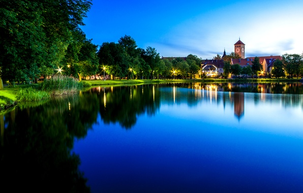 Picture the sky, water, trees, lights, lake, reflection, shore, watch, tower, home, the evening, Poland, lights, …