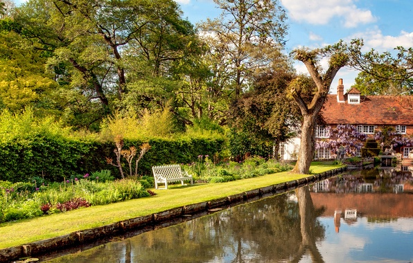 Picture greens, grass, water, trees, bench, house, reflection, UK, the bushes, Whitewater