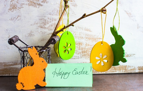 Wallpaper branch holiday suspension rabbits easter for Suspension 3 branches