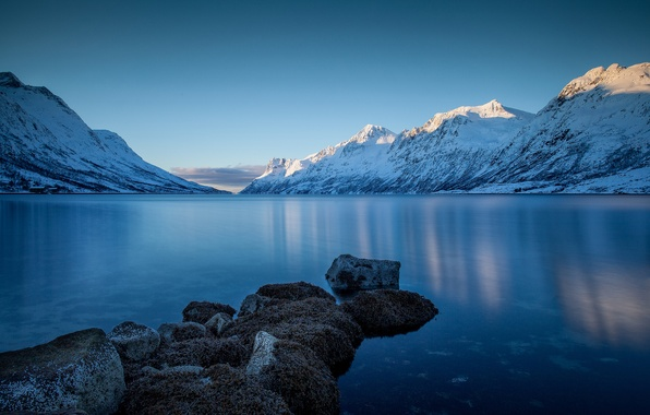 Picture winter, snow, landscape, mountains, nature, lake, stones, shore