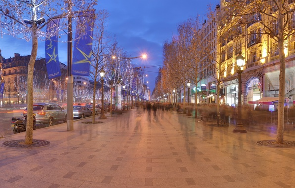 Picture decoration, mood, France, Paris, the evening, lighting, Christmas, garland, Champs Elysees, Christmas