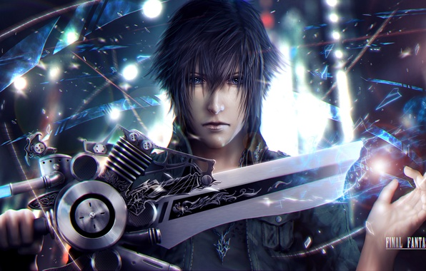 Picture face, sword, guy, art, Final Fantasy XV, Night Light Sky, noctis