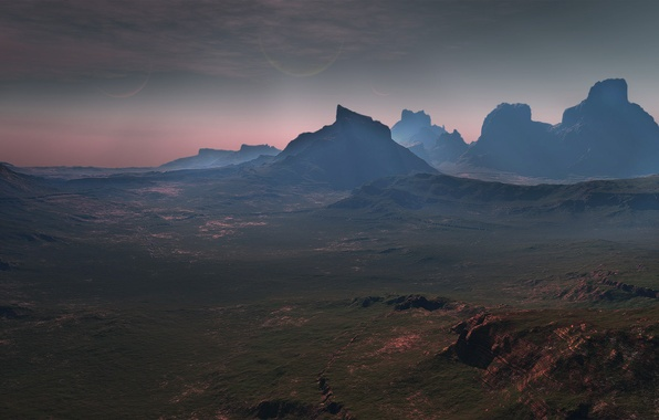 Picture mountains, rocks, valley, cardassia prime countryside