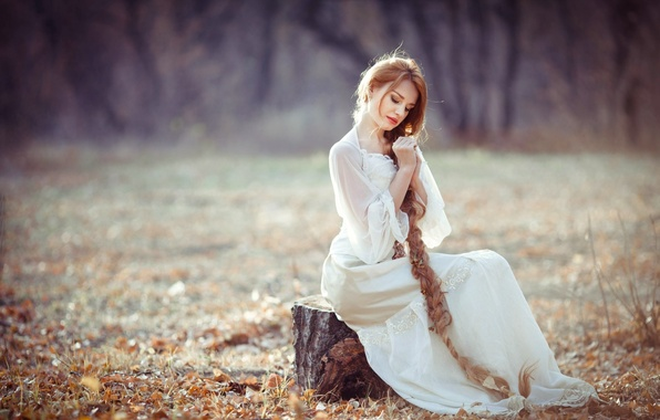 Picture autumn, forest, grass, look, leaves, girl, trees, nature, Wallpaper, sweetheart, model, hair, stump, figure, blonde, …