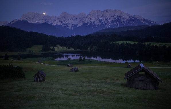 Picture forest, the sky, trees, mountains, night, hills, the moon, glade, Germany, Bayern, Alps, houses, blue, …
