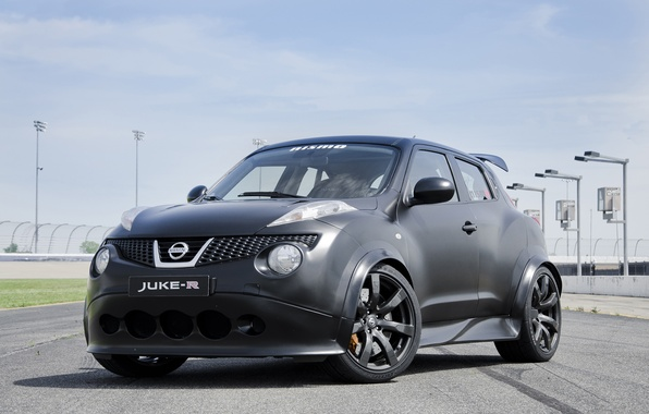 Picture Nissan, black, sky, track, Juke-R, Nismo