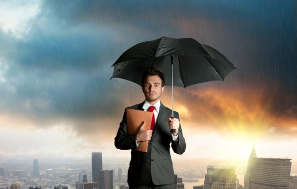 Picture clouds, the city, rain, umbrella, costume, guy, folder