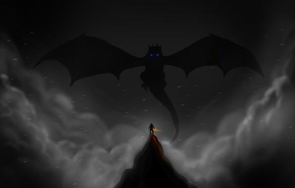 Picture dragon, the game, mountain, art, silhouettes, dragonborn, Skyrim, Skyrim, dragonborn