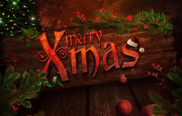 Picture decoration, cherry, tree, Christmas, hat, New year, new year, hat, merry christmas, cherry, christmas decoration, …