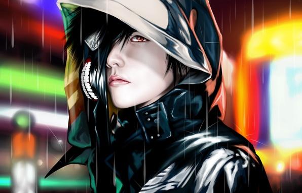 Picture rain, mask, hood, guy, Tokyo ghoul, Tokyo Ghoul