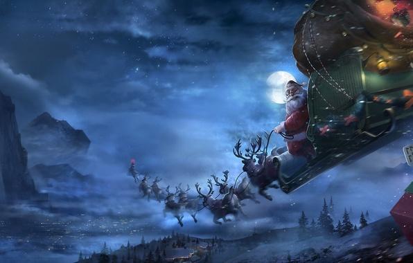 Picture winter, snow, flight, night, the moon, new year, art, gifts, team, sleigh, deer, Santa, Klaus, …