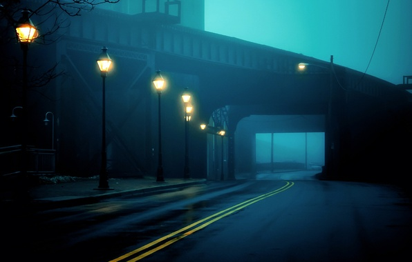 Picture road, light, the city, fog, the tunnel, lights, USA, USA, Virginia, Virginia, Richmond, United States …