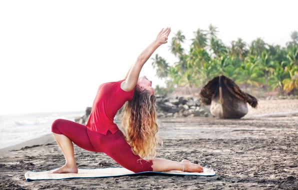 Picture red, beach, pose, relaxation, Yoga girl