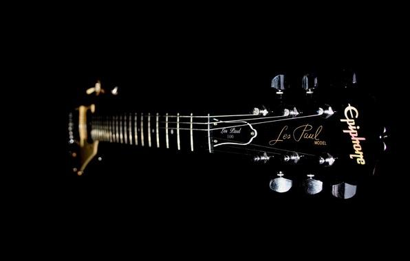 Picture guitar, strings, Grif, frets, black.background, Deka, Kalki