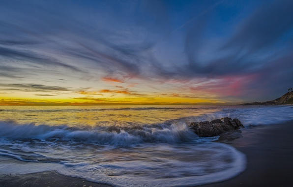 Picture beach, sunset, the ocean, coast, CA, Pacific Ocean, California, The Pacific ocean, Dana Point, Dana …