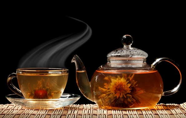 Picture flower, tea, kettle, Cup, black background, saucer