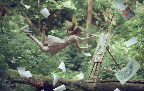 Picture forest, girl, artist, pictures, levitation, fantasy art
