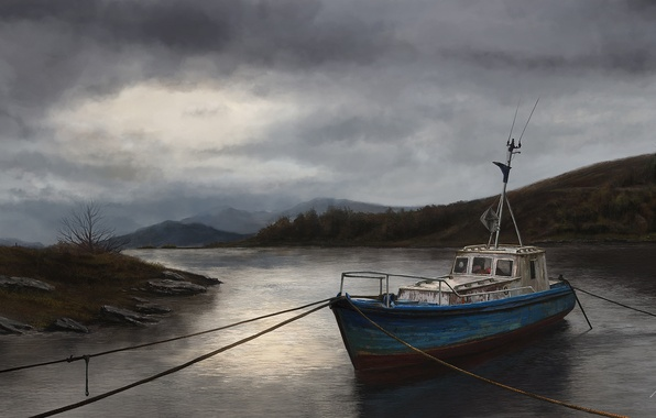 Picture water, river, overcast, ship, art, boat, cables