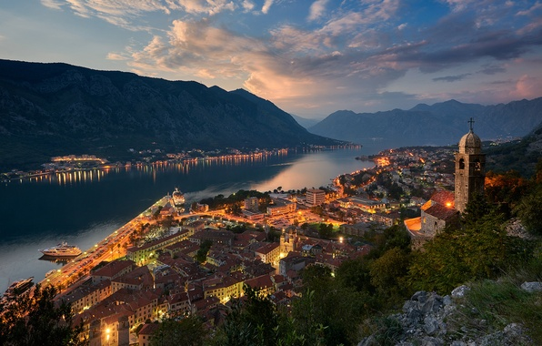 Picture light, mountains, the city, home, the evening, Church, Montenegro, To, Kotor Bay of the Adriatic …