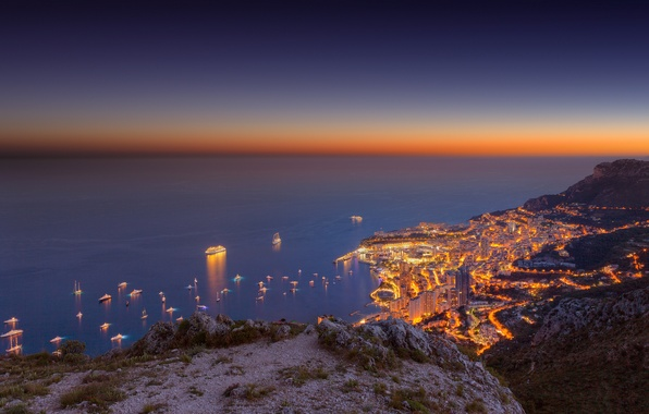 Photo wallpaper sea, the sky, sunset, mountains, the city, ship, yacht, Monte-Carlo
