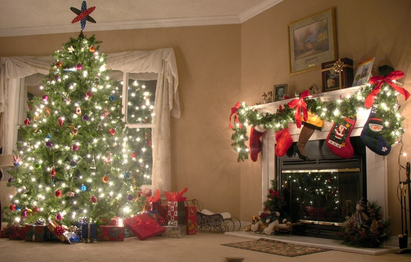 Picture house, holiday, tree, fireplace