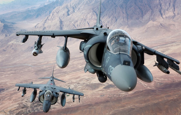 Picture flight, mountains, fighters, pair, stormtroopers, AV-8B, Harriers