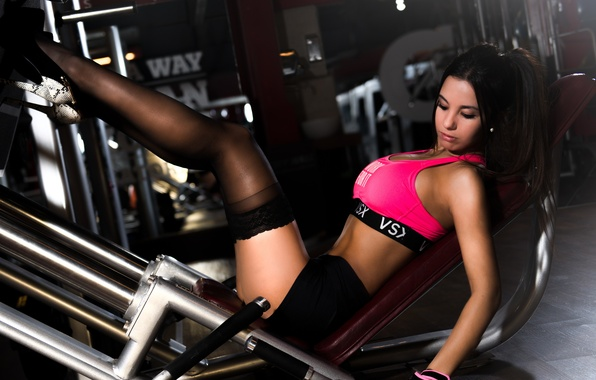 Picture girl, pose, shorts, stockings, figure, brunette, hairstyle, shoes, gloves, t-shirt, athlete, trainer, the gym, training, …