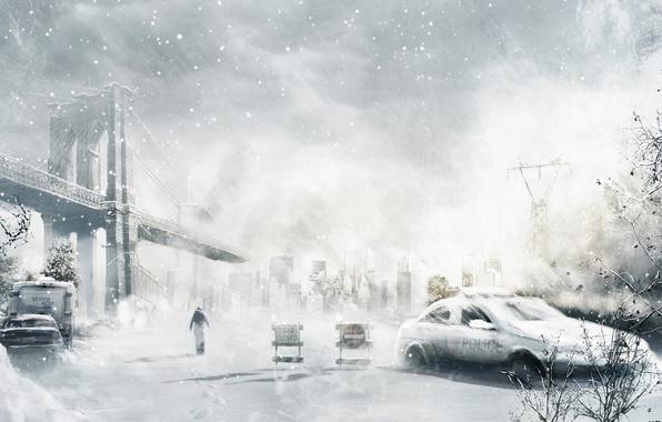 Picture winter, machine, snow, bridge, the city, people, art, ruins, postapokalipsis