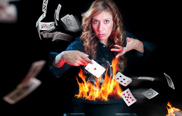 Picture card, girl, fire, the game, the situation