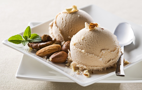 Picture balls, spoon, ice cream, plates, nuts, almonds, sweet, walnut