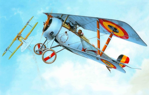 Picture the plane, fighter, art, times, company, French, Nieuport Ni-23, WWI, the first world war., participated, …