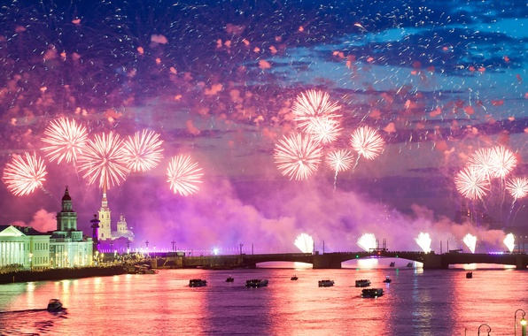 Picture night, city, the city, lights, salute, colorful, water, night, fireworks, reflection