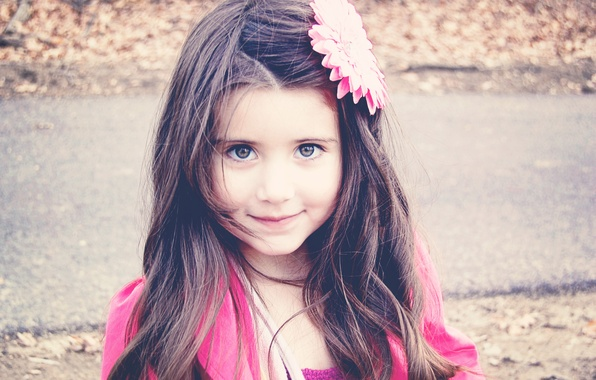 Picture flower, look, children, face, smile, background, pink, Wallpaper, mood, hair, brunette, girl, decoration, different, widescreen, …