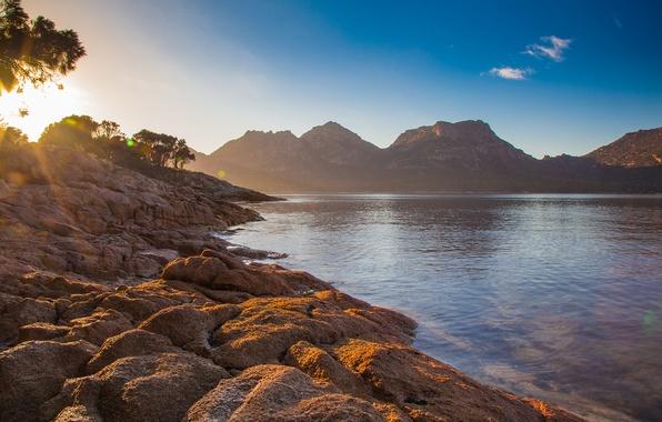 Picture summer, hill, sunrise, coles bay, tasmania, rockocean