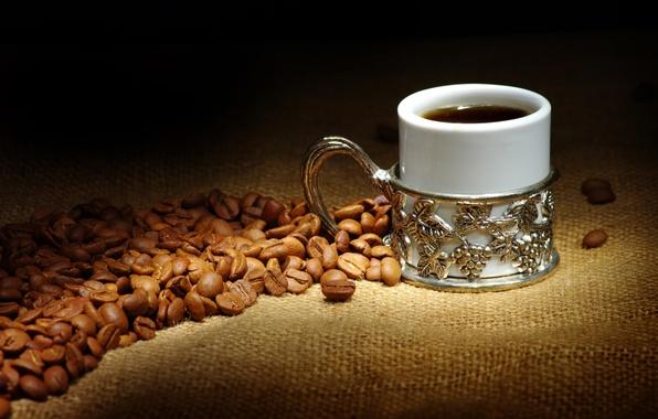 Picture coffee, mug, coffee beans, burlap