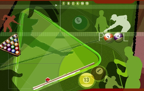 Picture collage, balls, the game, vector, Billiards, silhouette, pyramid, pool, cue, Billiards