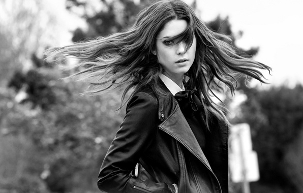 Picture look, pose, hair, Girl, jacket, black and white