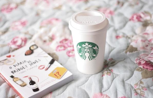 Picture glass, mood, books, bed, mug, Cup, coffee Starbucks, starbucks, diary