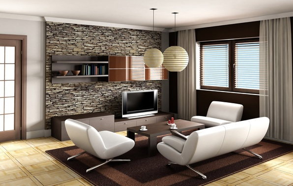Picture sofa, carpet, chair, TV, window, table