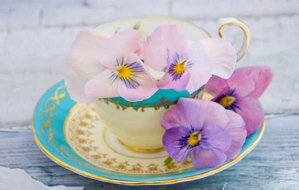 Picture Cup, saucer, Pansy, Viola